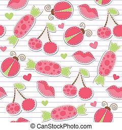 cor-de-rosa, cute, seamless, padrão
