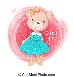 cor-de-rosa, cute, urso teddy, fundo, menina, caricatura