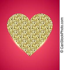 cor-de-rosa, dourado, brilhar, coração