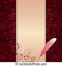 cor-de-rosa, escuro, experiência bege, corações, pena, scroll