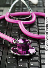 cor-de-rosa, estetoscópio, teclado