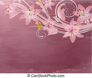cor-de-rosa, fantasia, flores, retro
