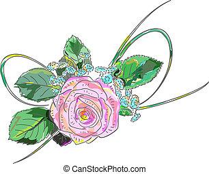 cor-de-rosa, feriado, rose., arrangement.