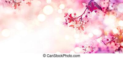 cor-de-rosa, flor, primavera, árvore, florescer, borda