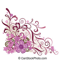 cor-de-rosa, floral, canto, projete elemento