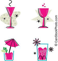 cor-de-rosa, isolado, cobrança, retro, branca, bebidas