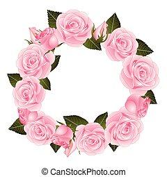 cor-de-rosa levantou-se, flor, grinalda