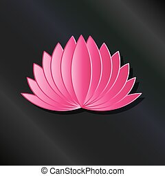 cor-de-rosa, loto, planta, frondoso, logotipo
