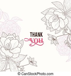 cor-de-rosa, marrom, agradecer, clássicas, vindima, quadro, casório, vetorial, texto, retro, convite, floral, elegante, tu, flores, desenho, cartão, design.