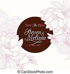 cor-de-rosa, marrom, clássicas, vindima, quadro, casório, chocolate, vetorial, texto, retro, convite, floral, elegante, cartão, flores, desenho, redondo, design.