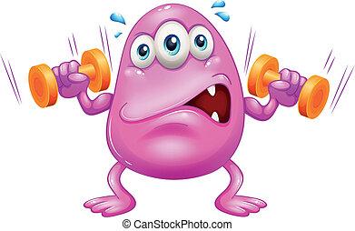 cor-de-rosa, monstro, gorda, exercitar