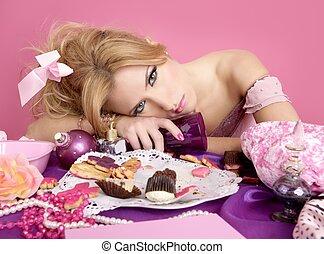 cor-de-rosa, mulher, bêbado, barbie, moda, partido, princesa