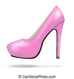 cor-de-rosa, mulher, sapatos, modernos, luminoso, alto, bomba, calcanhares