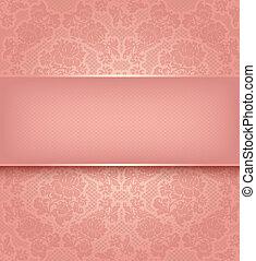 cor-de-rosa, ornamental, renda, fundo, flores, modelo