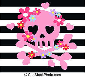 cor-de-rosa, ossos, flores, scull
