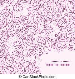cor-de-rosa, padrão, quadro, vetorial, fundo, canto, lineart, flores