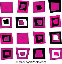 cor-de-rosa, padrão, seamless, retro, fundo, quadrados, ou