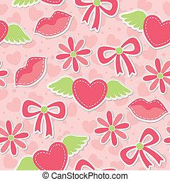 cor-de-rosa, padrão, seamless