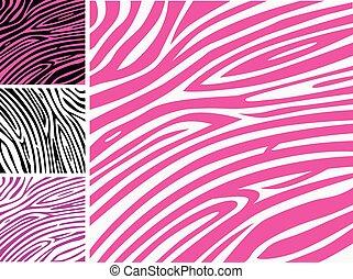 cor-de-rosa, padrão, zebra, impressão pele animal
