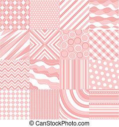 cor-de-rosa, padrões, seamless