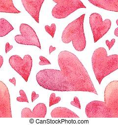 cor-de-rosa, pintado, padrão, seamless, aquarela, corações