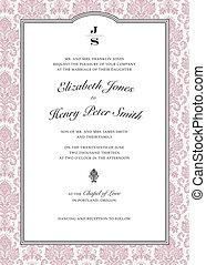 cor-de-rosa, quadro, vetorial, damasco