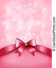 cor-de-rosa, ribbon., fundo, arco presente, lustroso, vector., feriado