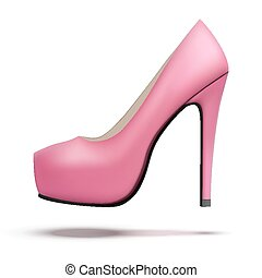 cor-de-rosa, sapatos, vindima, alto, bomba, calcanhares