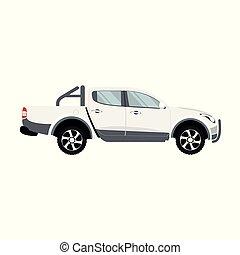 cor, dobro, pickup, vetorial, caminhão, desenho, branca, cabana
