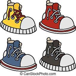 cor, engraçado, sneakers