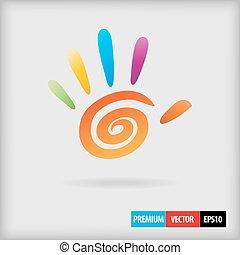 cor, espiral, mão, dedos, vetorial, 5