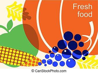 cor, ilustração, colheita, vegetables., festival, outono
