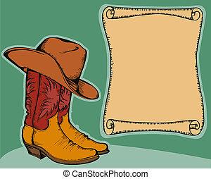 cor, ilustração, fundo, vetorial, carregadores vaqueiro, ocidental, hat.