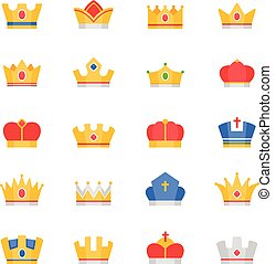 cor, jogo, coroa, vetorial, ícones