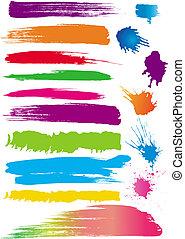 cor, jogo, linha, escovas