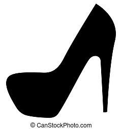 cor, mulher, pretas, sapatos, ícone