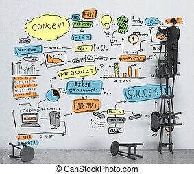 cor negócio, estratégia, parede, homem negócios, desenho
