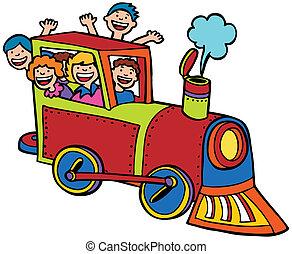 cor, passeio, trem, caricatura