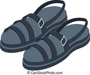 cor, pretas, sandálias, isometric, ícone, estilo