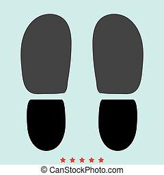 cor, rastros, aquilo, ícone, sapatos, calcanhares