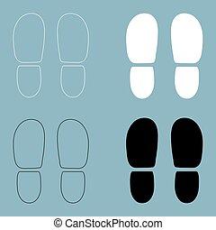 cor, rastros, pretas, ícone, sapatos, calcanhares, branca