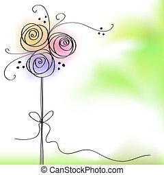 cor, rosa, flowe, cartão cumprimento