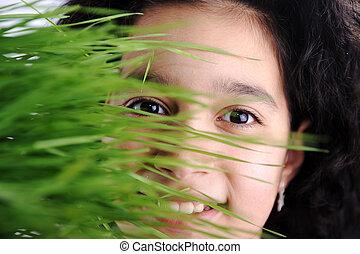 cor, rosto, capim, atrás de, verde, menina, feliz