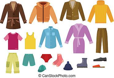cor, roupa, cobrança, mens