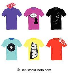 cor, t-shirt, jogo, venda, vetorial
