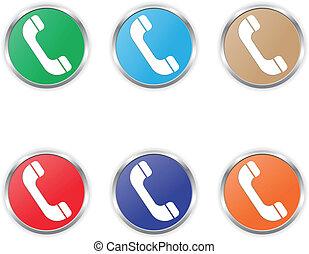 cor, telefone, vetorial, jogo, ícone