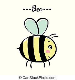 cor, vetorial, ilustração, bee.