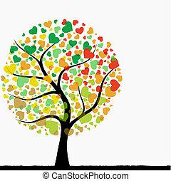 coração, árvore, abstratos