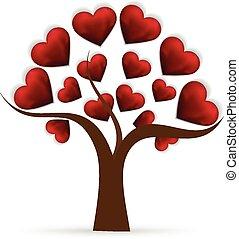 coração, árvore, amor, logotipo