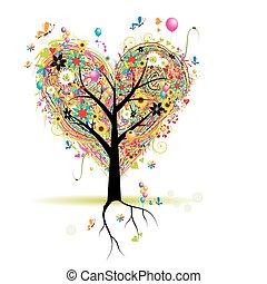 coração, árvore, feriado, forma, balões, feliz
